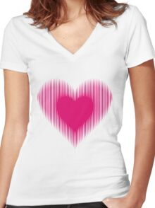 My Heart Beats For You Women's Fitted V-Neck T-Shirt