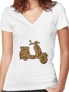 Rusty Vespa Scooter Piaggio Women's Fitted V-Neck T-Shirt