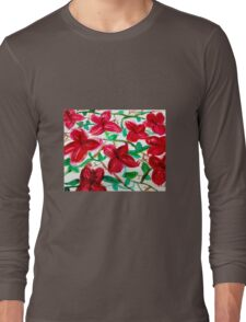 Cherry Red Hibiscus Field Floral Long Sleeve T-Shirt