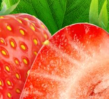 Two strawberries with leaf Sticker