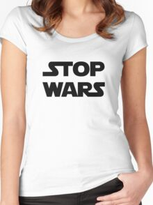 Stop wars (black) Women's Fitted Scoop T-Shirt