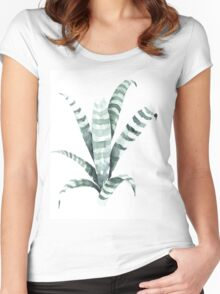 Tiger Plant Watercolor Painting Women's Fitted Scoop T-Shirt