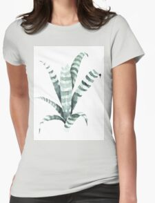 Tiger Plant Watercolor Painting Womens Fitted T-Shirt