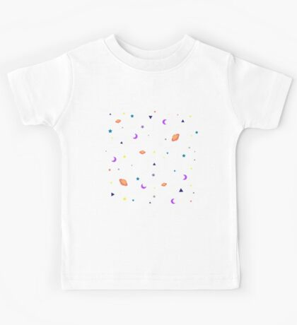 Univers Cool Pattern Stars Planet Space Clear White Kids Tee
