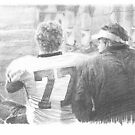 dad & son football bench drawing by Mike Theuer
