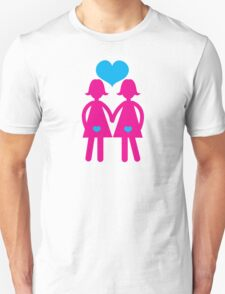 Lesbian girls love hearts together Unisex T-Shirt