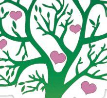 LOVE TREE beautiful oak with love hearts Sticker