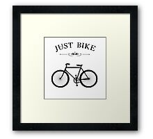 JUST BIKE Cycling retro White Vintage Framed Print