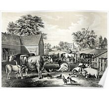 American farm yard - evening - Currier & Ives - 1857 Poster