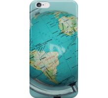 Globe and blue background iPhone Case/Skin