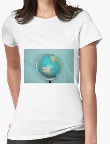 Globe and blue background Womens Fitted T-Shirt