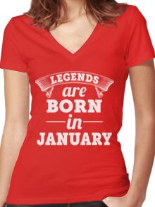 legends are born in JANUARY shirt hoodie Women's Fitted V-Neck T-Shirt