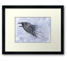 Dot work Crow on Watercolour Framed Print