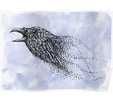 Dot work Crow on Watercolour Poster