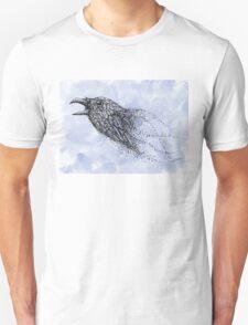 Dot work Crow on Watercolour T-Shirt