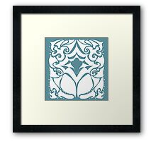 Pattern Series: White and Teal Swirl Framed Print