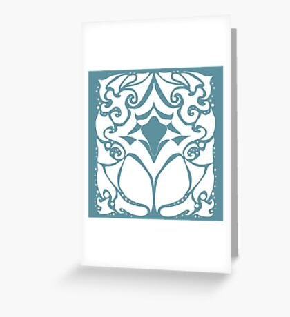 Pattern Series: White and Teal Swirl Greeting Card