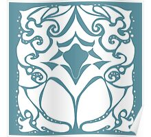 Pattern Series: White and Teal Swirl Poster