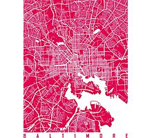 Baltimore map rapsberry Photographic Print