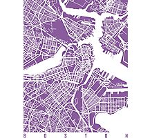 Boston map Lilac Photographic Print