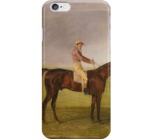 Benjamin Marshall  BRITISH MR. HENRY VANSITTART'S CHESTNUT COLT BURLEIGH WITH SAM CHIFNEY UP, BY THE RUBBING-DOWN HOUSE AT NEWMARKET iPhone Case/Skin