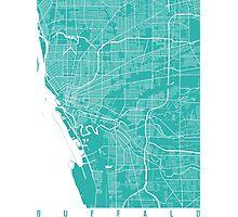 Buffalo map turquoise Photographic Print