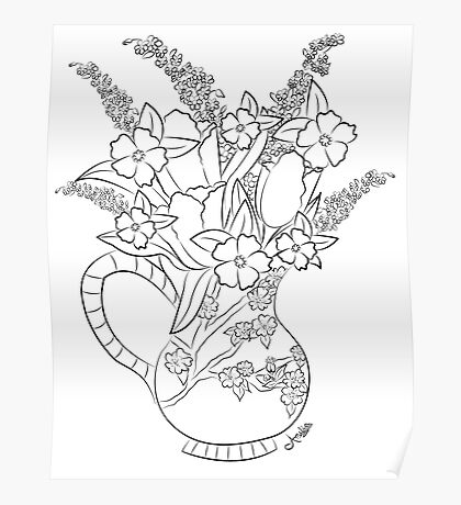 Happy Coloring! Tulips from the Garden Poster