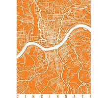 Cincinnati map orange Photographic Print