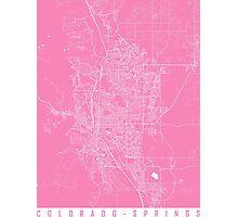 ColColorado Springs map pink Photographic Print