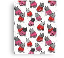 Sweater Cats valentine love cute kitten // pink red andrea lauren  Canvas Print