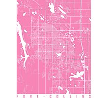 Fort Collins map pink Photographic Print