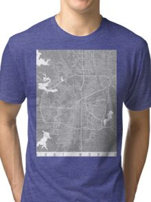 Fort Worth map grey Tri-blend T-Shirt