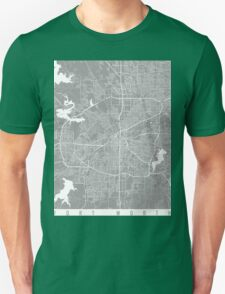 Fort Worth map grey Unisex T-Shirt