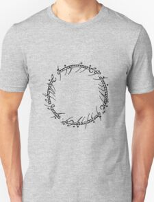 The One Ring Text - Black  T-Shirt