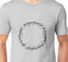 The One Ring Text - Black  Unisex T-Shirt