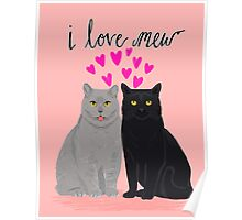 Cat valentine love cute kitten heart cats valentines day pet cat lady Poster