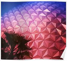 Sunset as Spaceship Earth (Epcot Ball) Poster