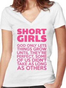Short Girls Funny Quote Women's Fitted V-Neck T-Shirt