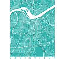 Louisville map turquoise Photographic Print