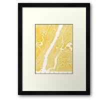 Manhattan map yellow Framed Print