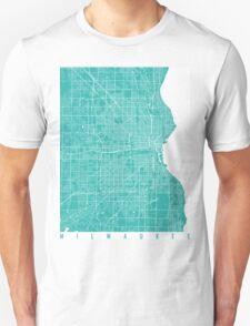 Milwaukee map turquoise Unisex T-Shirt