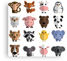 Flat animals Canvas Print
