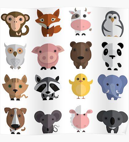 Flat animals Poster