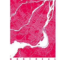 Montreal map rapsberry Photographic Print