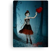 Bleeding heart - circus doll Canvas Print