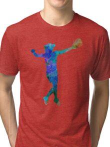 woman playing softball 02 Tri-blend T-Shirt