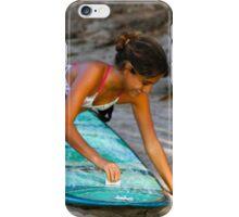Woman Waxing a Surfboard iPhone Case/Skin