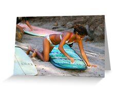 Woman Waxing a Surfboard Greeting Card