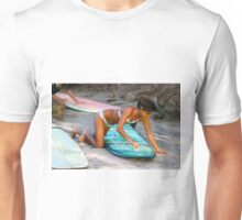 Woman Waxing a Surfboard Unisex T-Shirt