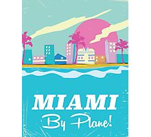 Cartoon 1980s miami vice vintage travel poster Photographic Print